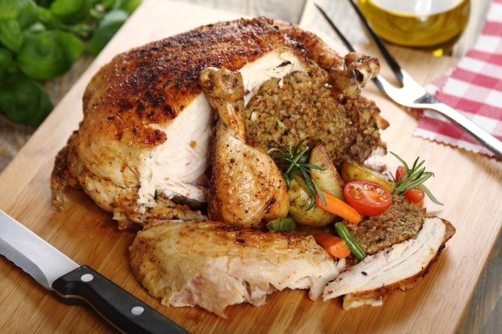 Курица целиком в духовке фаршированная гречкой